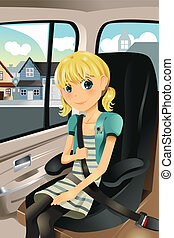 Girl in car seat - A vector illustration of a cute girl...