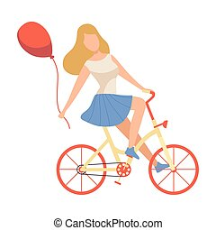 Girl in Casual Clothes Riding Bicycle with Red Balloon Vector Illustration