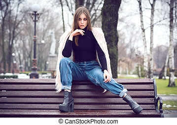 Girl in casual fashion clothes
