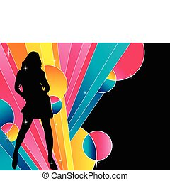 Sexy girl silhouette with stripes background