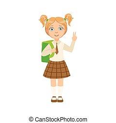 Girl In Chekered Skirt With Tie Happy Schoolkid In School...