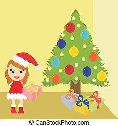 girl in christmas dress near tree