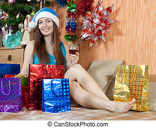 Girl in christmas gifts