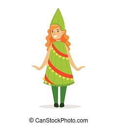 Girl In Christmas Tree Outfit Dressed As Winter Holidays Symbol For The Costume Christmas Carnival Party