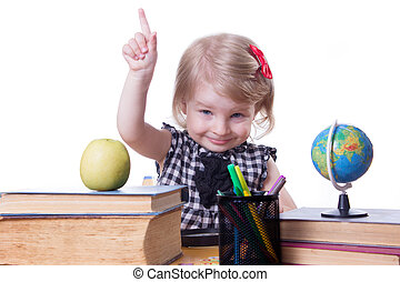 Girl in classroom raising finger up