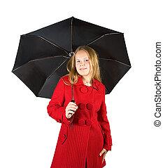 girl in cloak with umbrella - Pretty girl in cloak with...