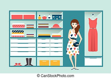 Girl in Clothing store. Boutique indoor. Flat design...