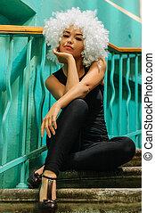 Girl in clown wig