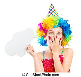 Girl in clown wig with speech bubble