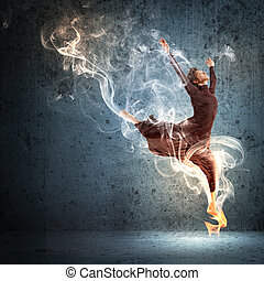 Girl in color dress dancing.Collage - Girl dancing in a...