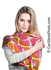 Girl in colorful scarf