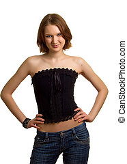 girl in corset and jeans