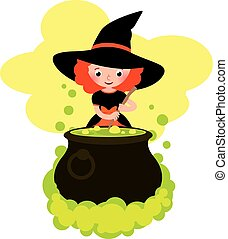 Girl in costume of Halloween witch cooks a potion in the big pot.eps
