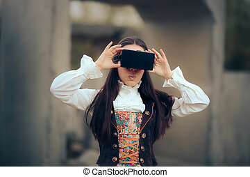Girl in Costume with VR Glasses in Virtual Reality Concept Portrait