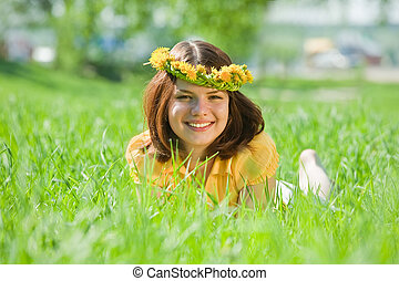 girl in dandelion  chaplet