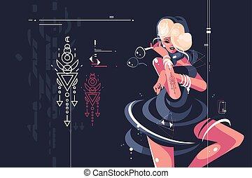 Girl in dark dress with glasses