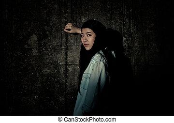 Girl in depression , grief , despair, discouragement , despair