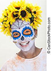 Girl in Dia de los Muertos Halloween Make Up