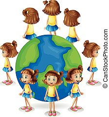 Girl in different angle of the world