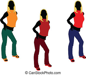 girl in different color - vector