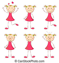 Girl in Different Mood - illustration of set of girl showing...