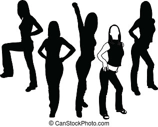 girl in different poses - vector