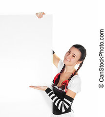 girl in dirndl  with a blank sign