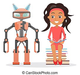 Girl in Dress Sit on Pile of Books beside Robot