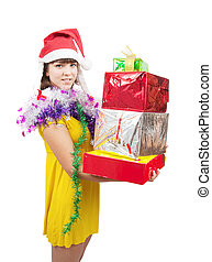 girl in dress with present boxes