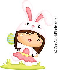 Girl in Easter Bunny Costume