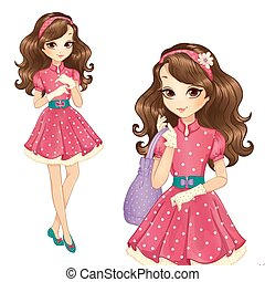 Girl In Elegant Dress And Gloves