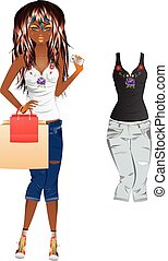 Girl in Embroidered Top - Fashion cartoon girl in jeans and...