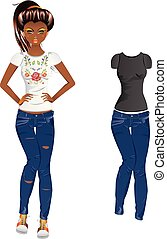 Girl in Embroidered Tshirt - Fashion cartoon girl in jeans...