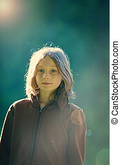 girl in evening light