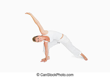 teenage girl in extended triangle pose beautiful happy