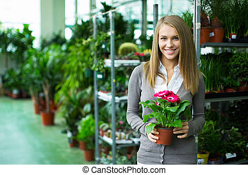 Girl in flower shop