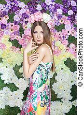 Girl in flowers.