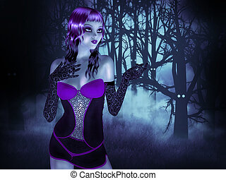 Girl in forest at night