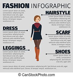 Girl in french style fashion infographic