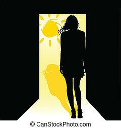girl in front of the door with sun