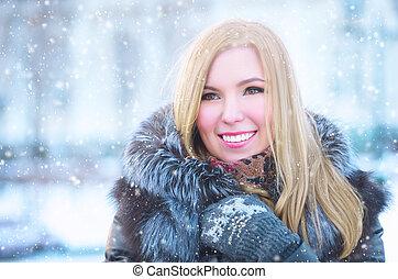 girl in frost, in a winter sheepskin coat