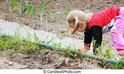 Girl in garden spring