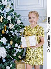girl in golden dress