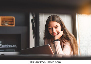 Girl in good mood and smiling brightly - Hilarious teenager...