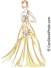 Girl in Gown Sketch with Clipping Path