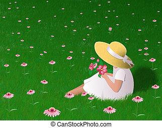 Girl In Grass - Little girl sitting in grass. Digital...