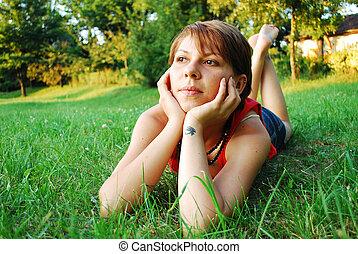 girl in green grass
