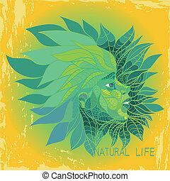 girl in green leaves - vector illustration of girl in green...
