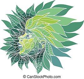girl in green leaves - Girl in green leaves. Vector...