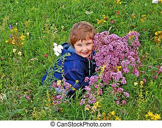 Girl in green meadow